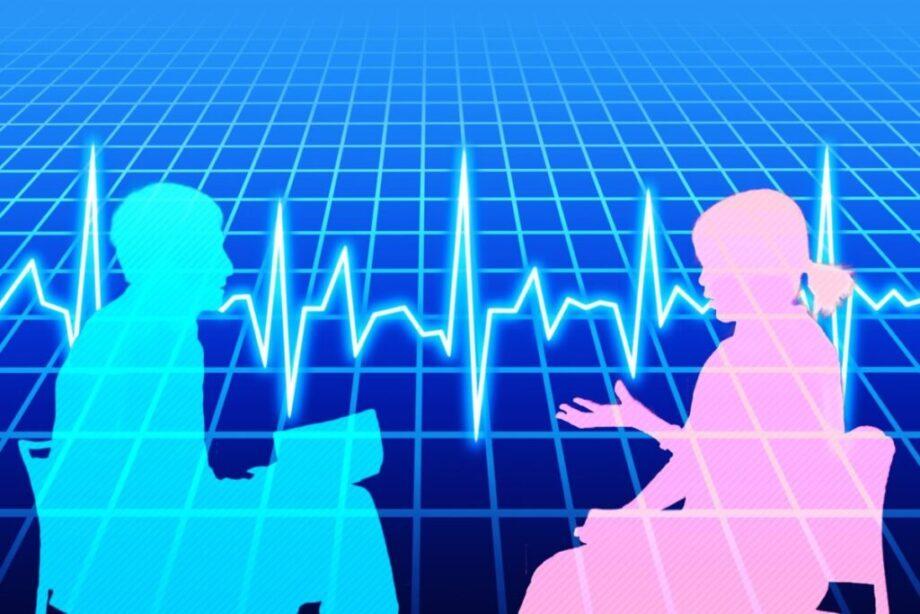 会話する男女の影